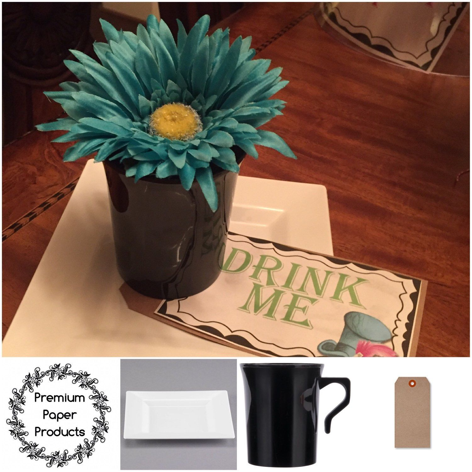 Look at this creative table decor! One of my customer used all this to create this piece for a party! More ideas to come visit and shop now! #party #creative #plasticplates #krafttags #create #diy #crafts #decor #decorations #premiumpaperproducts