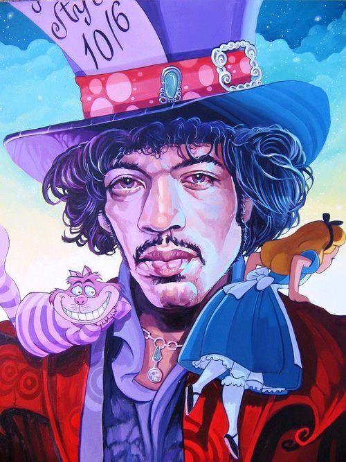 Jimi Hendrix.Mad Hatter.Alice In Wonderland.