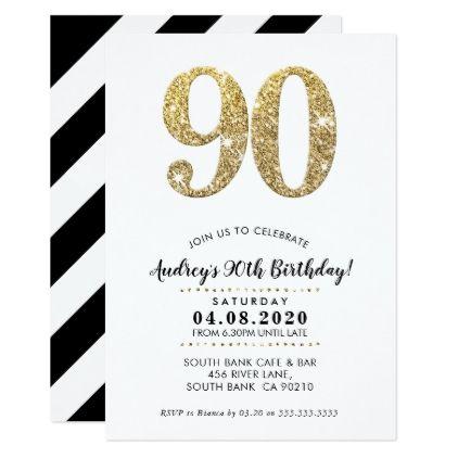 90th birthday party invite modern gold glitter 90th birthday 90th birthday party invite modern gold glitter glitter glamour brilliance sparkle design idea diy elegant filmwisefo Gallery