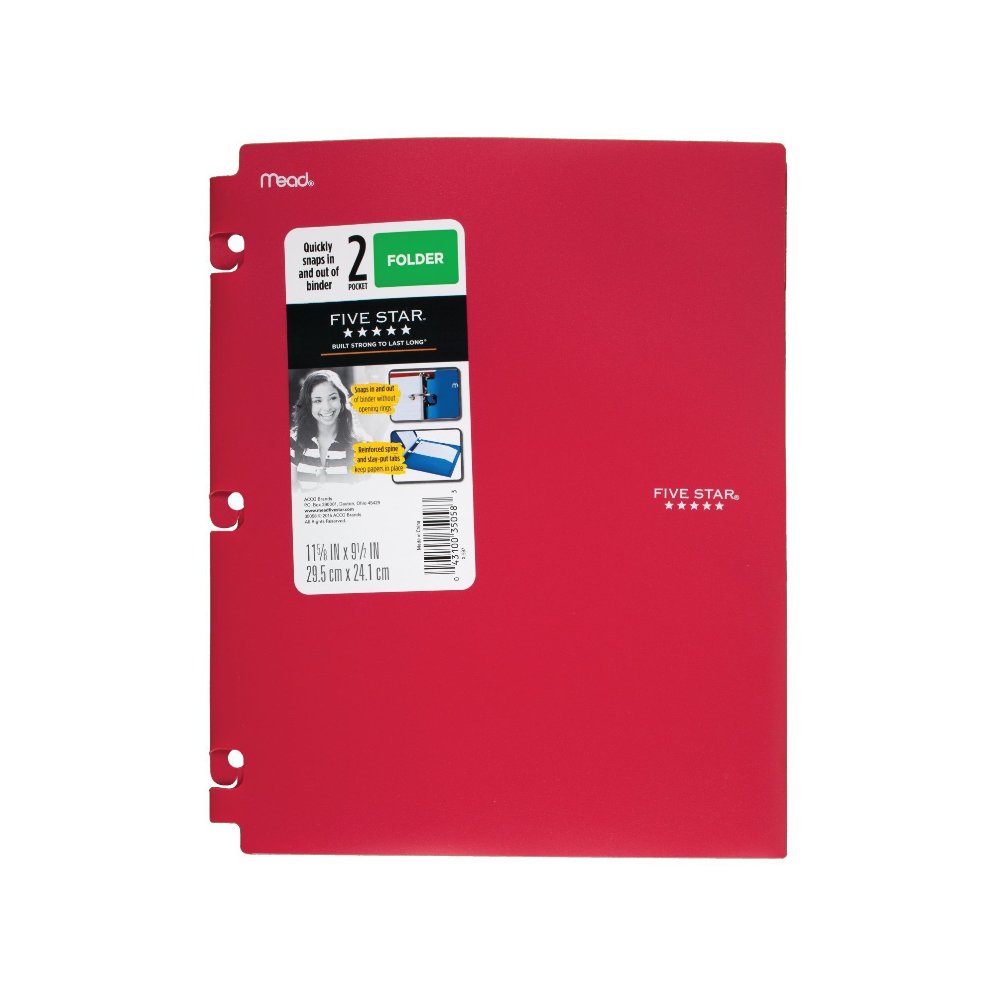 Five Star Plastic Folder Snap-In Binder 2 Pocket Red