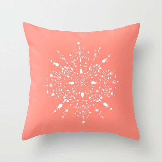 Coral Pink Mandala Throw Pillow Cover coral throw by lake1221