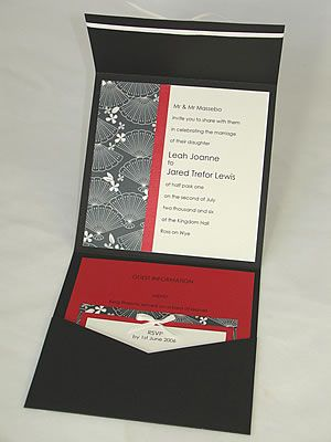 A Japanese style wedding invitations envelopments in black red and - fresh birthday party invitation in japanese
