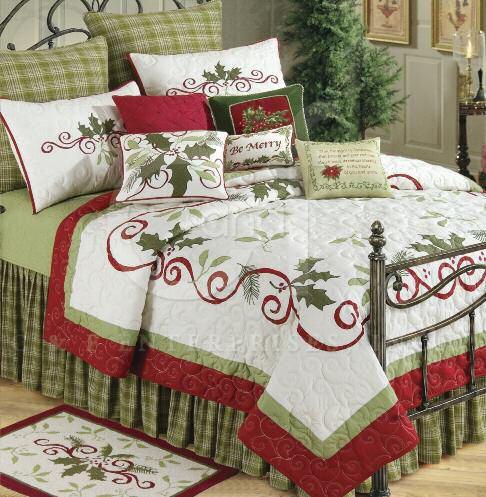 queen\u0027s christmas Holiday Garland Queen Quilt C  F Enterprises