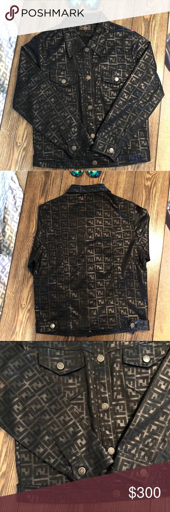 Vintage Fendi Zucca Monogram Black Logo Jacket Black Logo Fendi Jackets