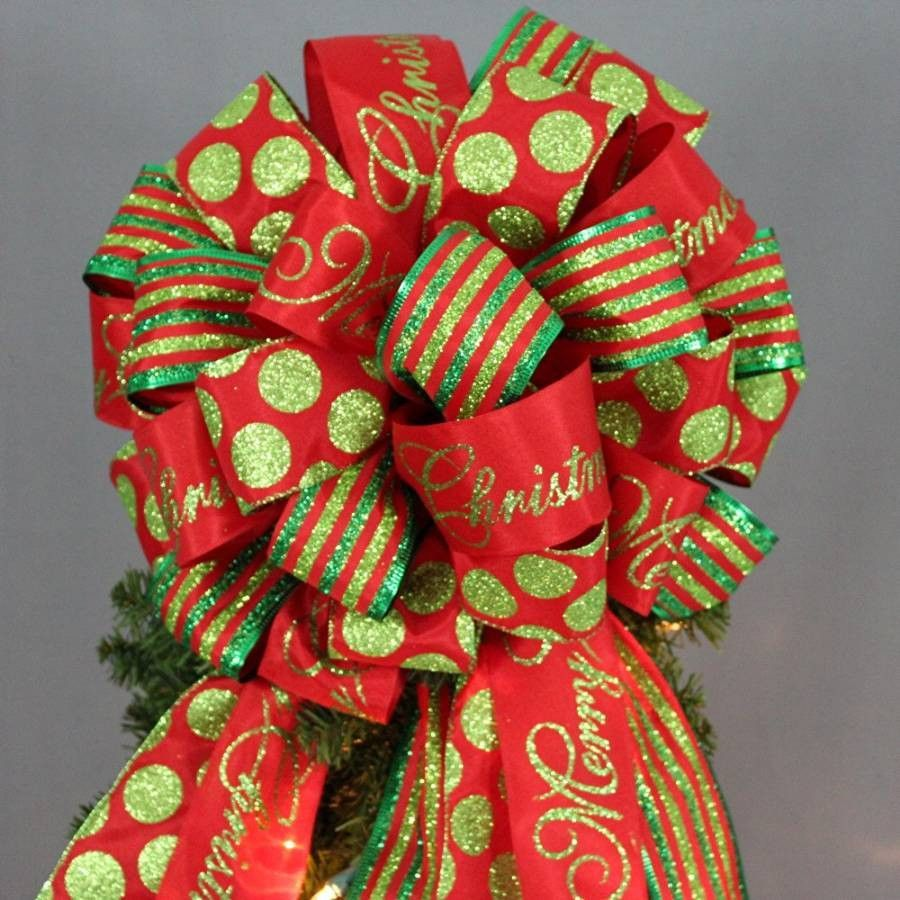 This large red and green Christmas tree topper bow is