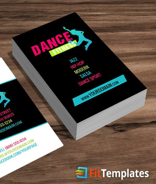 Zumba Or Dance Fitness Business Card Template From FitTemplates - Fitness business card template