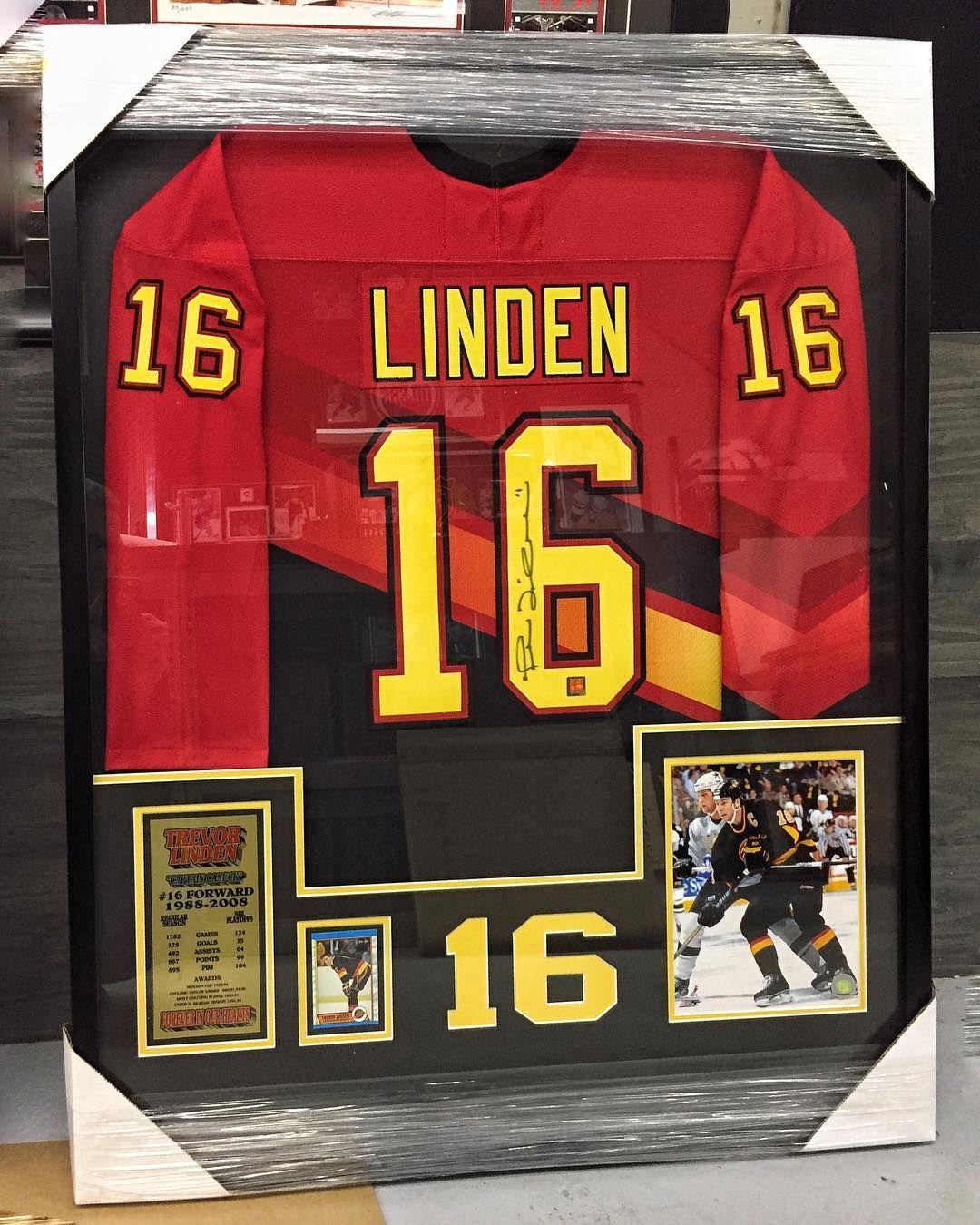 Framed signed Trevor Linden jersey ready for a happy