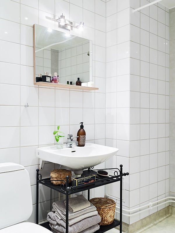 Clever Idea For Storage Under A Wall Mounted Sink Home Decor