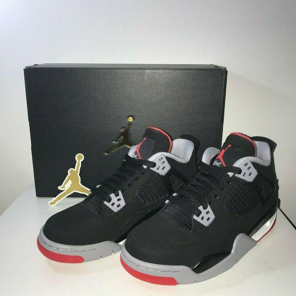 finest selection 64b0f f3d32 (eBay Sponsored) New GS Air Jordan 4 Retro Bred Black Cement US Size 4Y