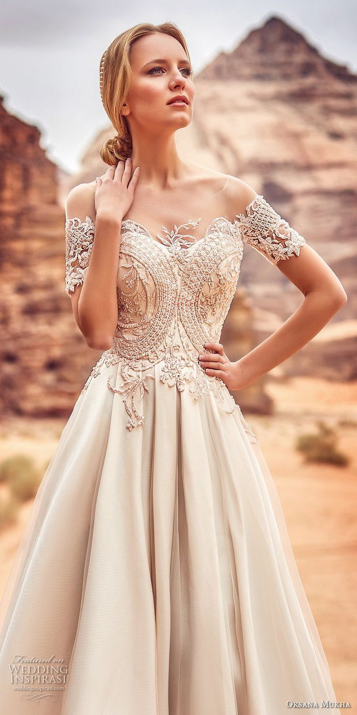 Oksana mukha short sleeve bridal off the shoulder neckline semi