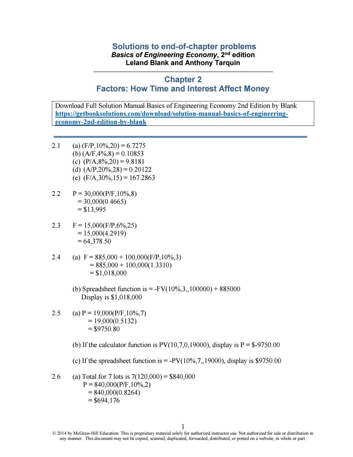 Solution manual basics of engineering economy 2nd edition