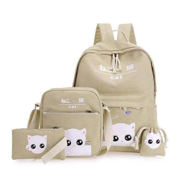 VZ black cat backpacks for girl lovely school backpacks for teenage girls  printing backpack set mint green school bags WM111YL 4890f5d2ca
