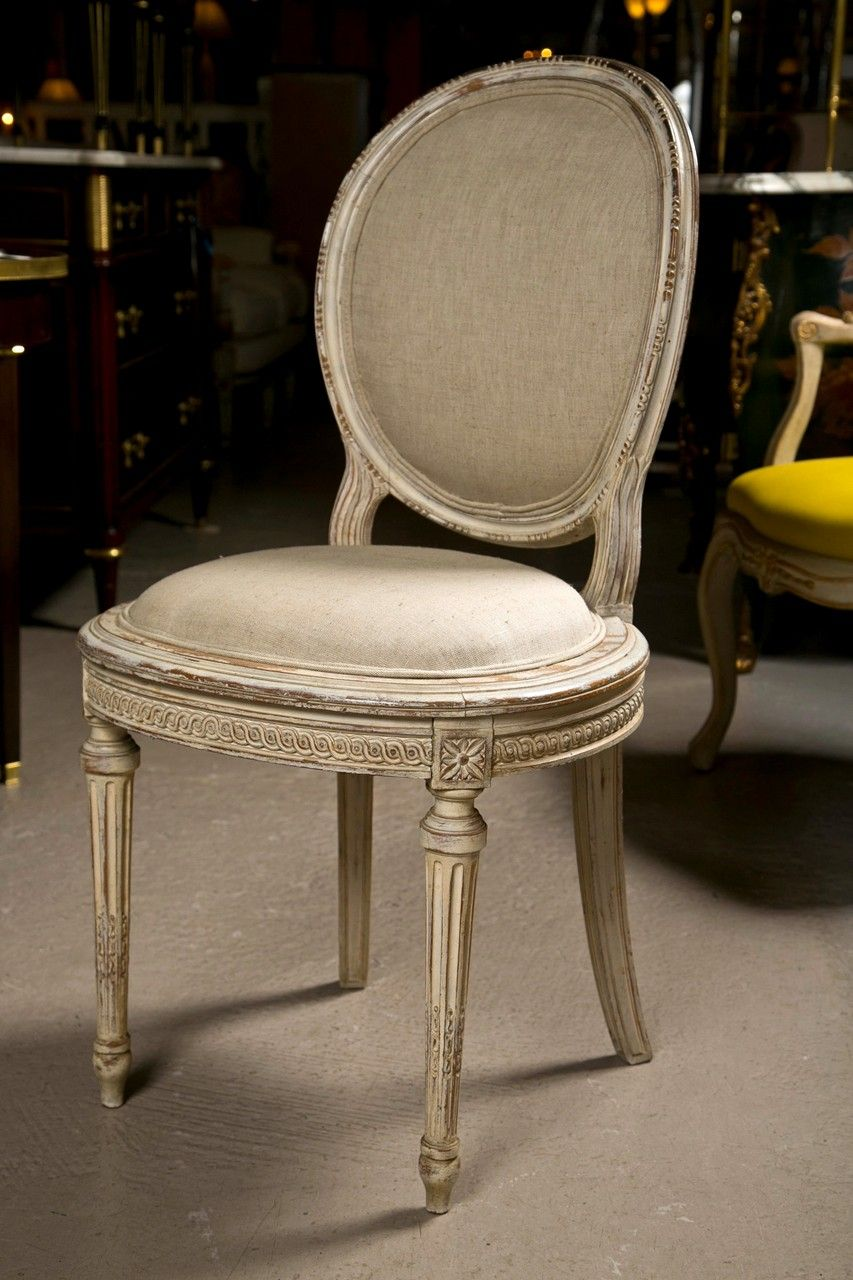 Set Of 8 French Louis Xvi Style Painted Dining Chairs Jansen Image