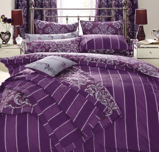 Plum Damask Reversible Printed Cotton Throw from Next