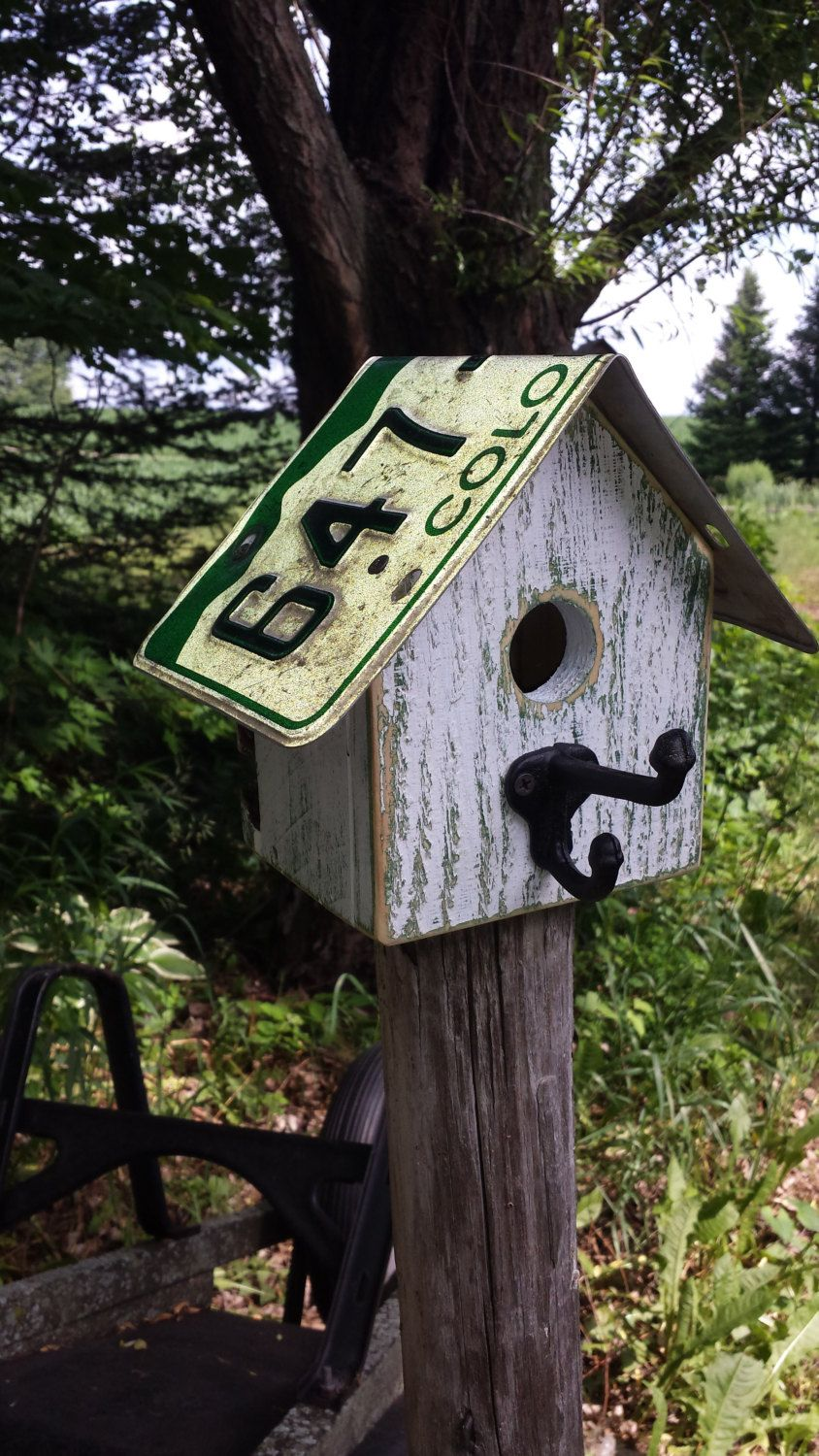 Colorado License Plate Roof On Reclaimed Wood Birdhouse