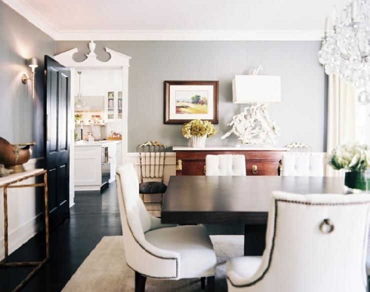 Beautiful dining room design with gray walls paint color, antique ...