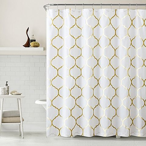 Add Sophisticated Style With This Metallic Ogee Shower Curtain. It Features  A Gold Moroccan Pattern