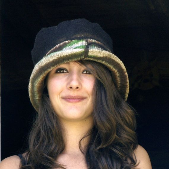 felt hat  nuno felted  hat with a wide brim top hat by jannio, $85.00