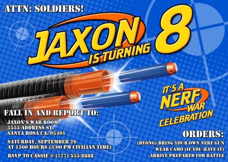 Nerf Birthday Party Invitations Is The Masterpiece Of Your Elegant