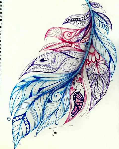 Art By Joni More Feathers Complete This One Is A Tattoo Feather Drawing Feather Art Feather Tattoos