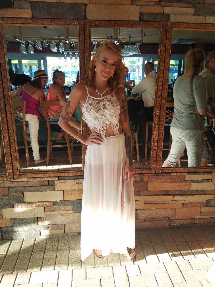 White dress beach wedding