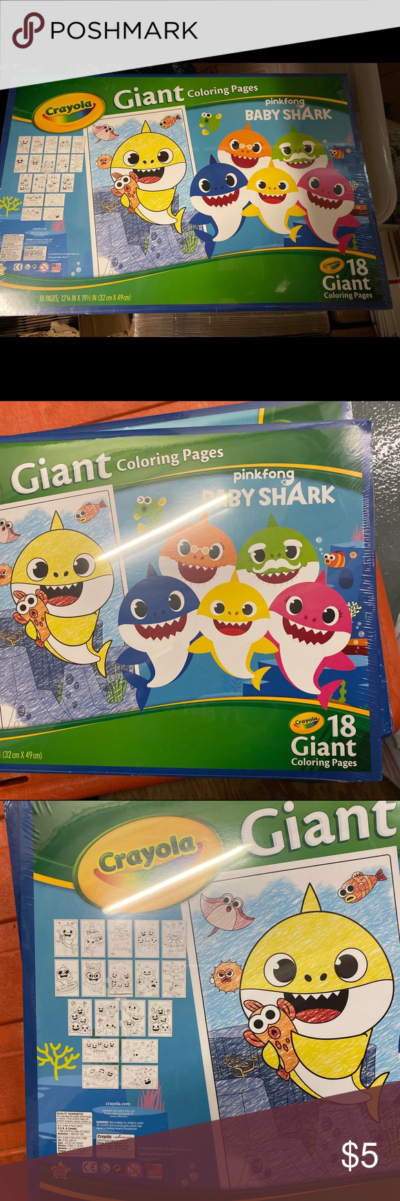 Pinkfong Baby Shark Giant Coloring Book Crayola Baby Shark Coloring Books Shark Party Supplies