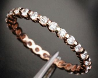 Full Eternity Wedding Ring 1.5mm Round Moissanite Band Prongs 14K White Gold Stackable