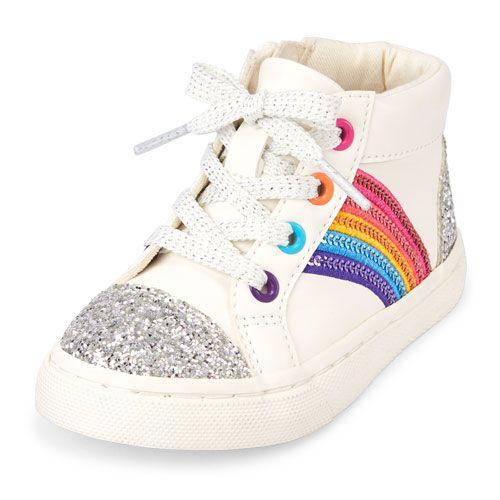 72b26685786a Toddler Girls Glitter Rainbow Rockstar Sneaker