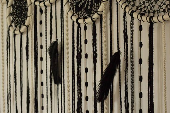 Luxury giant dream catcher wall hanging BLACK GOLD photo