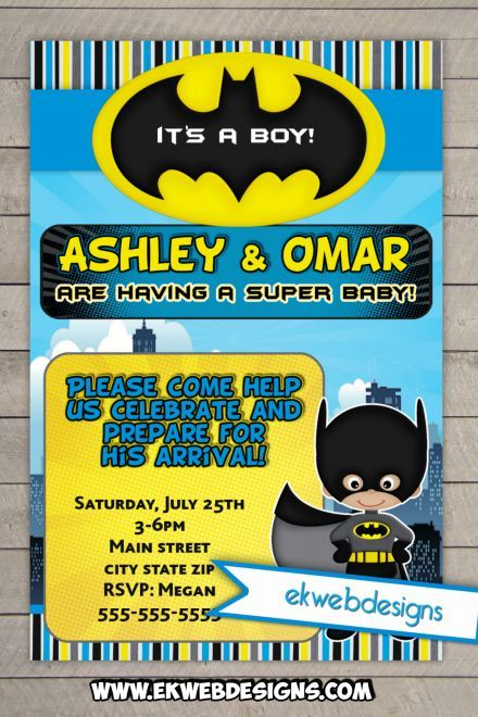 Awesome Batman Baby Shower Invitations   Custom Comic Book Baby Shower Invites