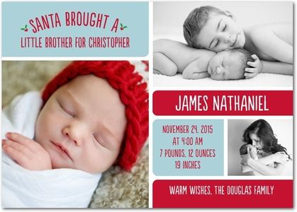 Santa Brought - Winter Boy Birth Announcements - Magnolia Press - Peppermint - Blue : Front