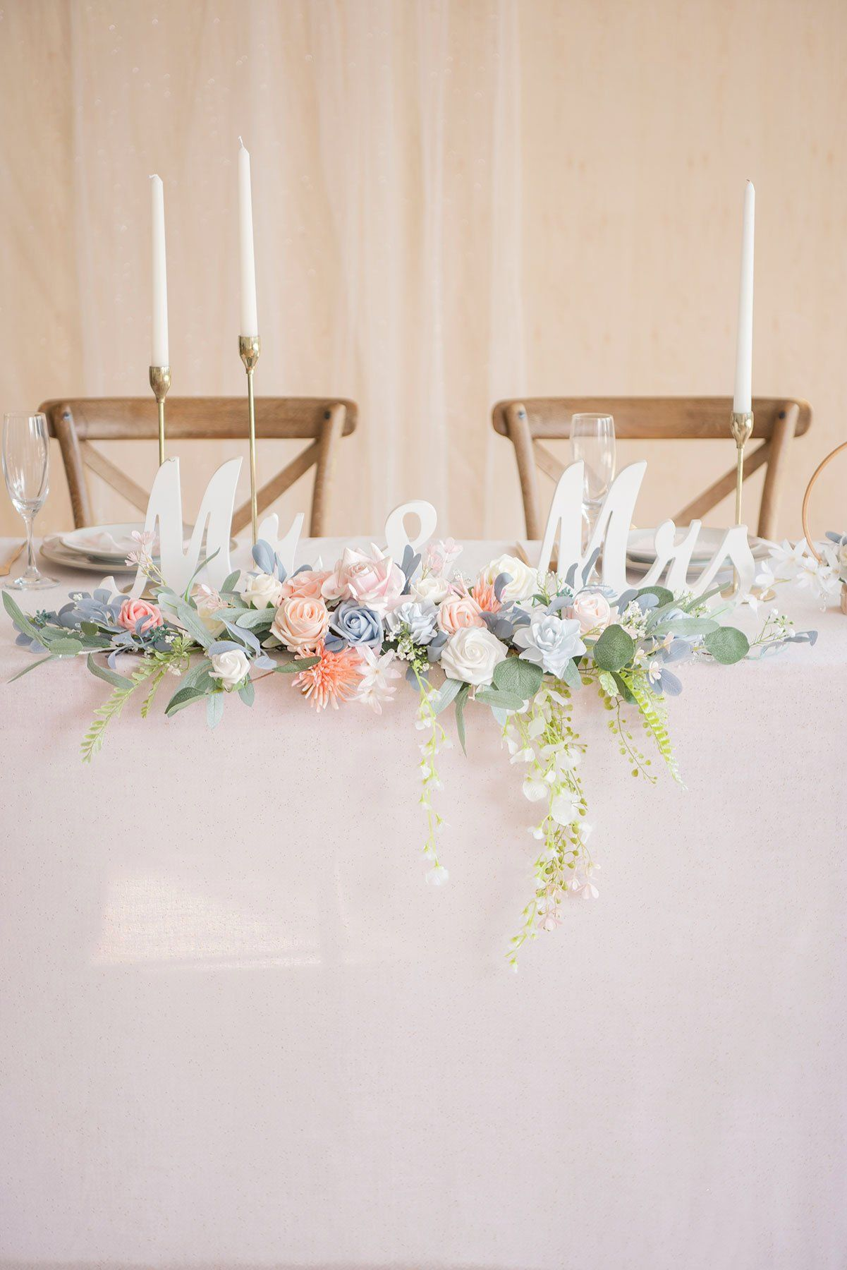 Flower Swag and Tablecloth for Sweetheart Table - Dusty Blue