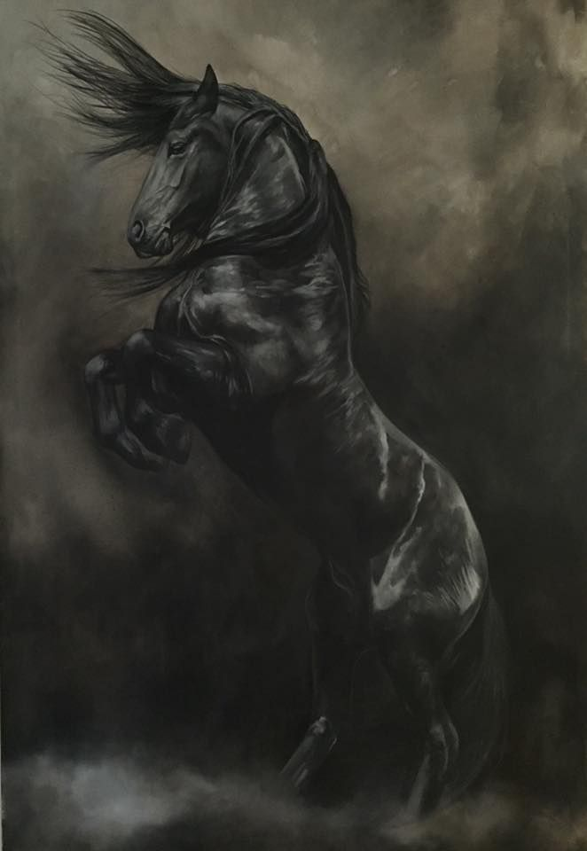 """72"""" X 48"""" - #darkhorse Oil on canvas - Work in progress - Tony O'Connor Equine Art www.whitetreestudio.ie Fine Art Giclee Prints of the finished product 'WindStorm' available"""