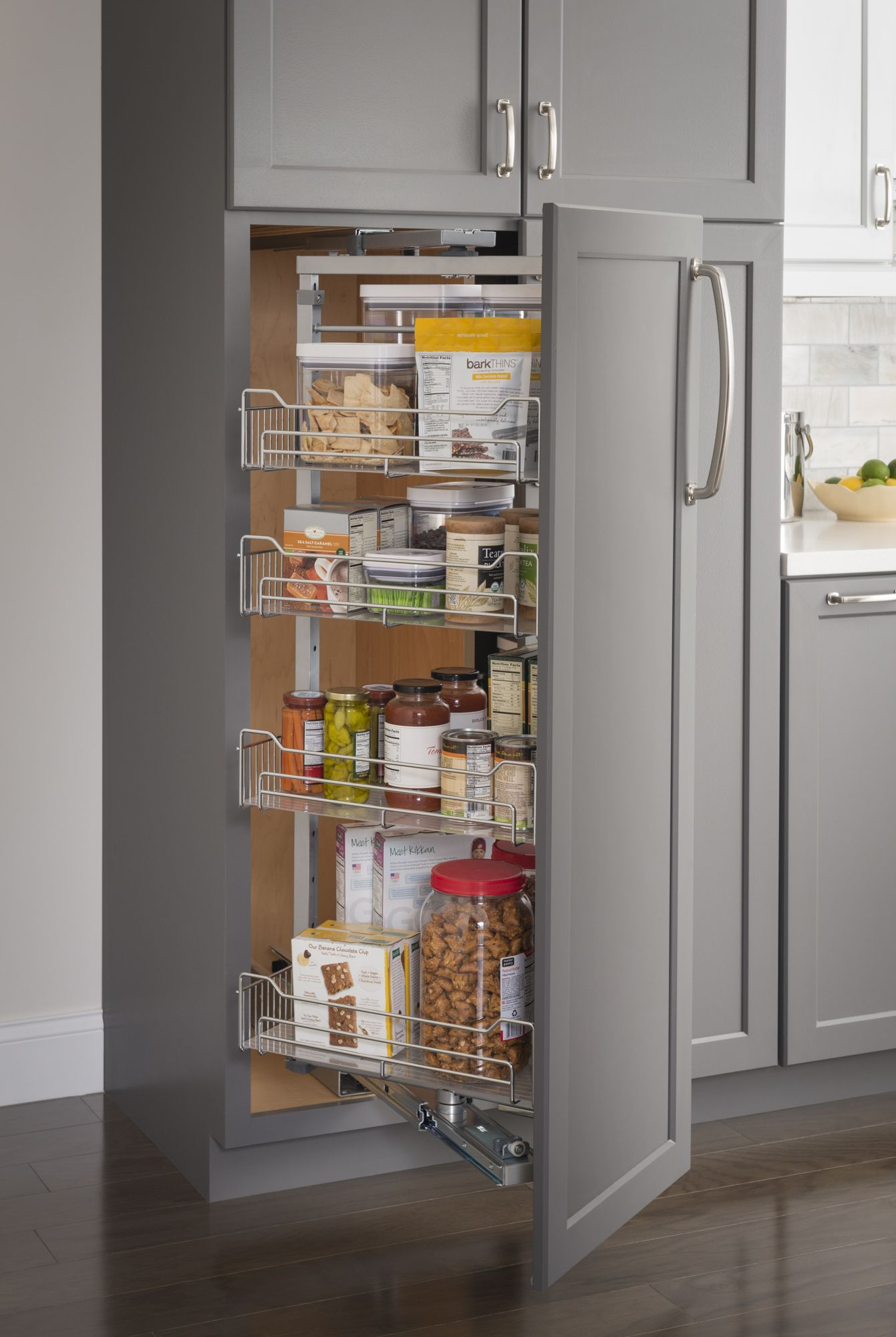 Chrome wire pantry pullout with swingout feature with heavy-duty ...