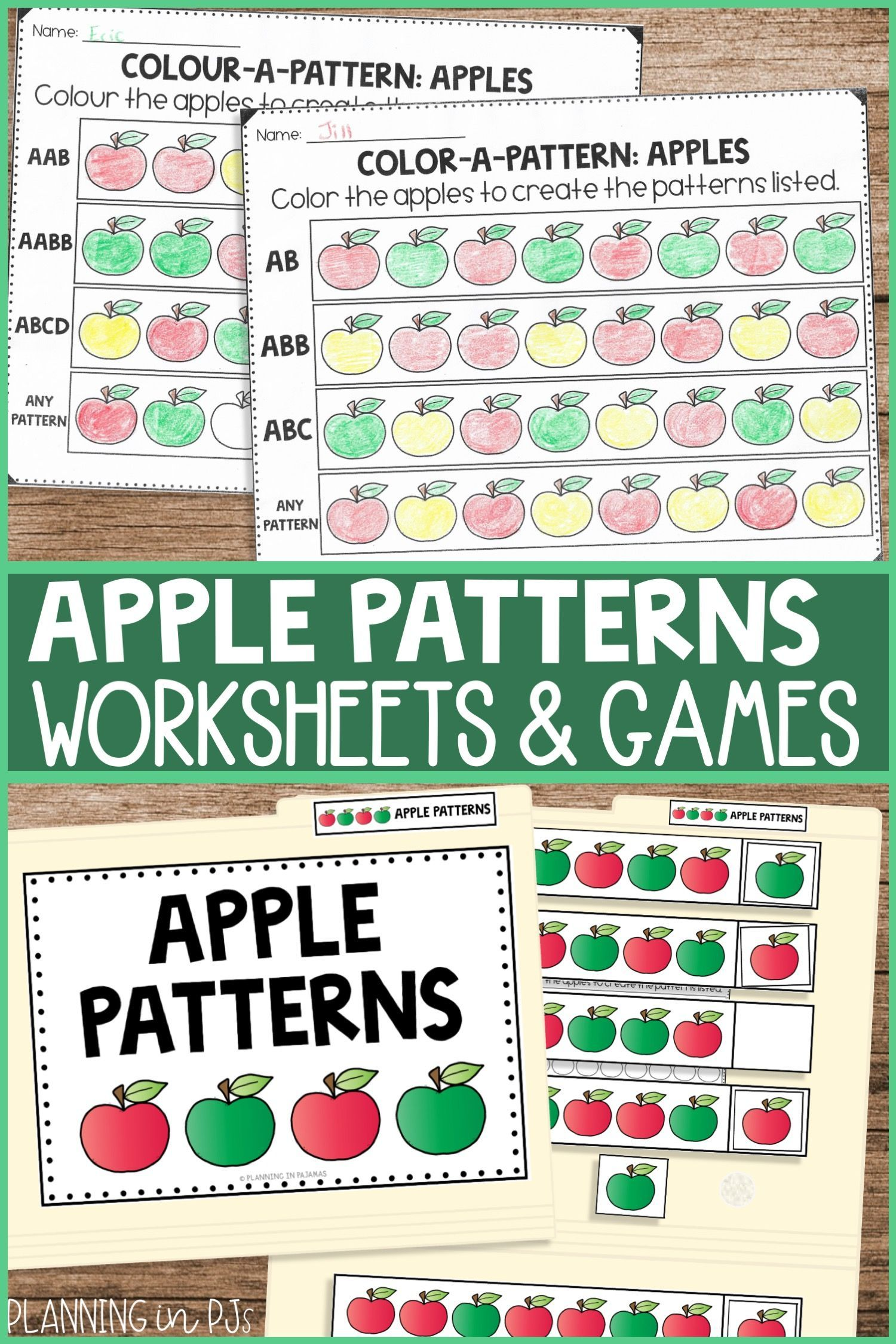 Apple Patterns Worksheets File Folder Game