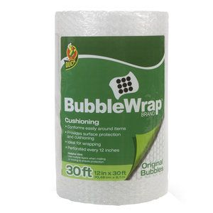 Duck Brand Bubble Wrap Protective Packaging. We're planning to have the Moppets  kids take turns popping the bubble wrap to keep them occupied.