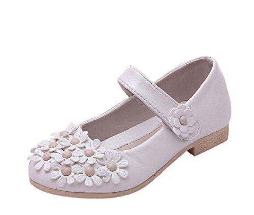 EOZY Zapatos De Vestir Niñas Flores Para Fiesta Danza Princesa Cierre (Talla 34/Longitud interior 20.8cm, Rosa)