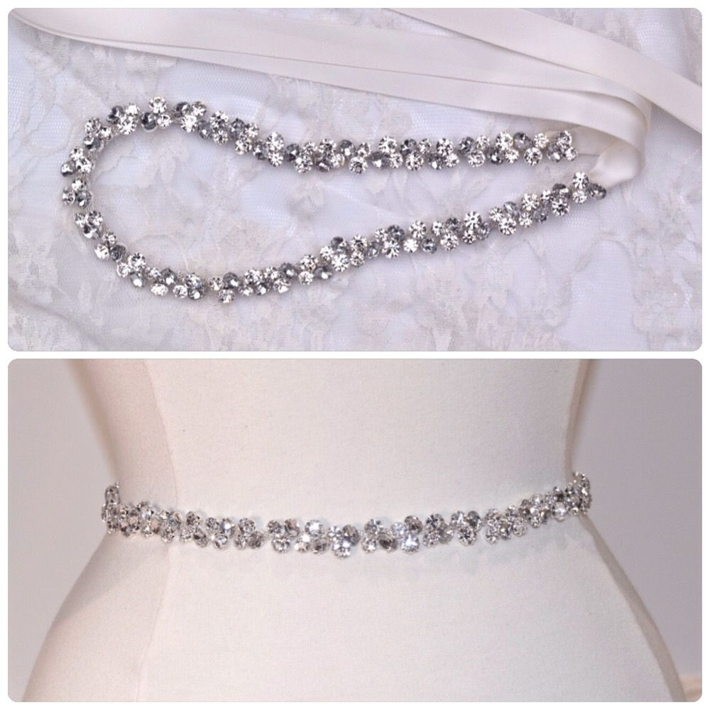 eeb2948d4abf Thin Crystal Rhinestone Belt- Clear and Gray Rhinestones- Silver ...