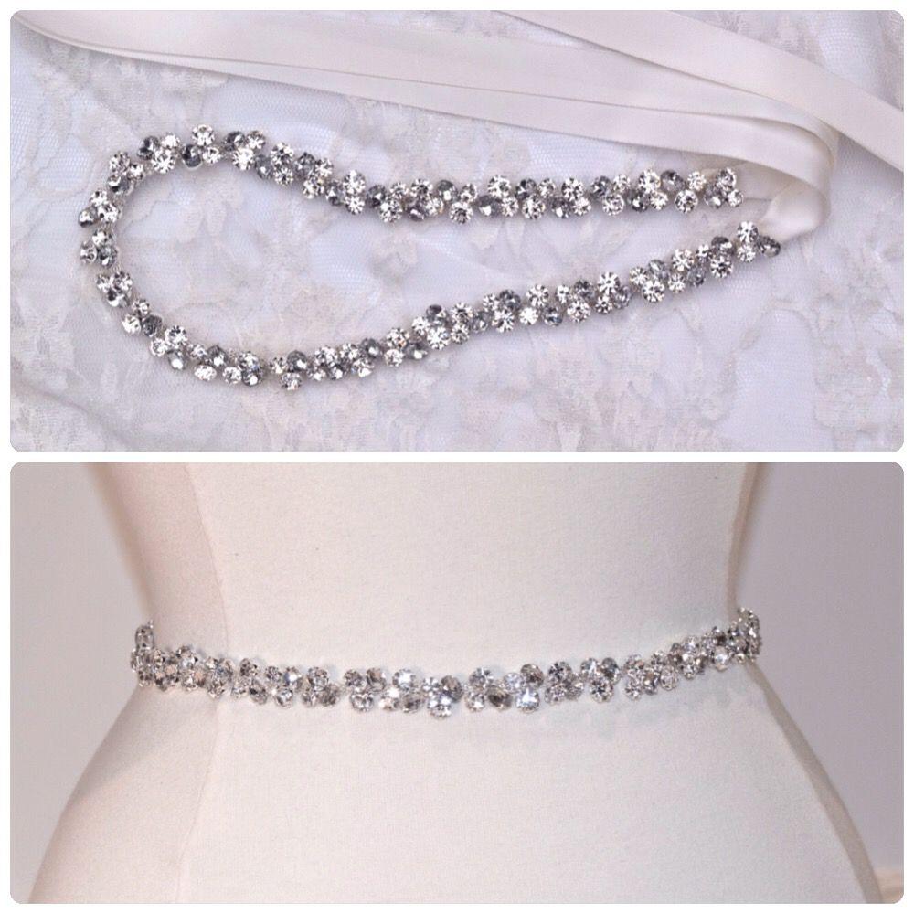 Bridal belt bridesmaid accessories thin rhinestone for Wedding dress accessories belt