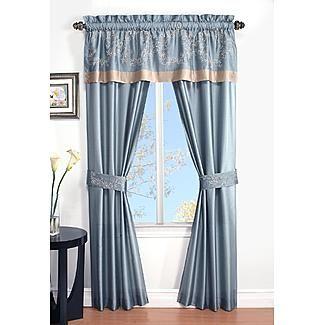 Cannon 5 Piece Curtain Panels Valance Tiebacks Prestige