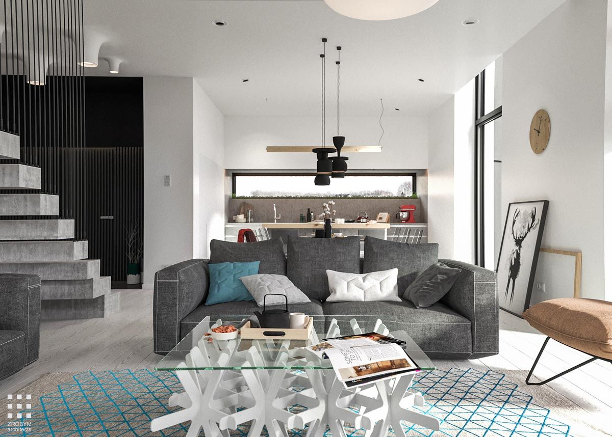 A Two Story Home With A Sleek Gray Color Palette