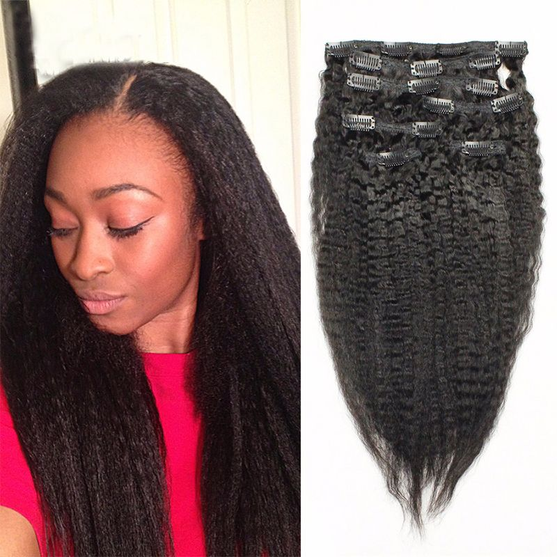 7a Brazilian Kinky Straight Clip In Human Hair Extensions African