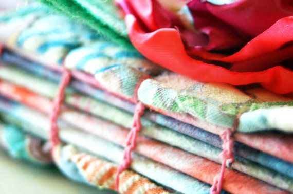 Vintage Quilt /Book Paper Fabric Art Journal  by RAEMISSIGMAN, $12.00