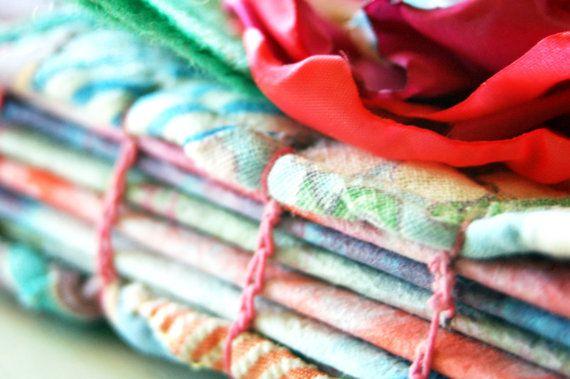 Vintage Quilt /Book Paper Fabric Art Journal  by RAEMISSIGMAN, $12.00