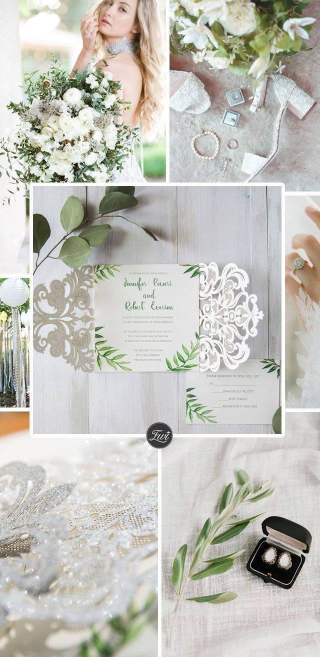 Spring Simple Silver Laser Cut Green Leaves Wedding Invitations
