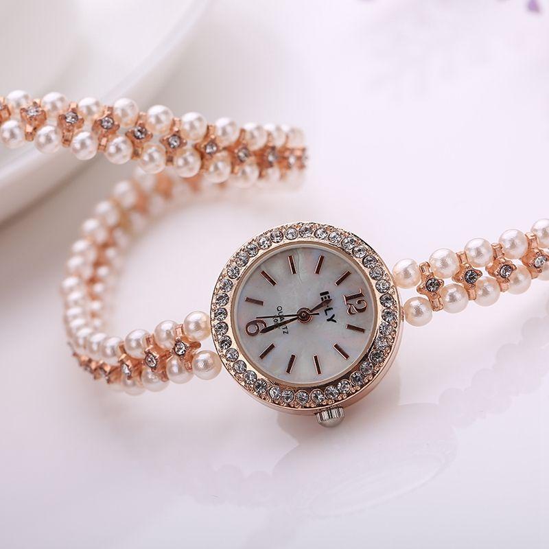2016 New  Brand Gold Watch Alloy Pearl Luxury Gemstone Bracelet Wrist Watches Women Dress Fashion Watch Quartz Watch !XR1304