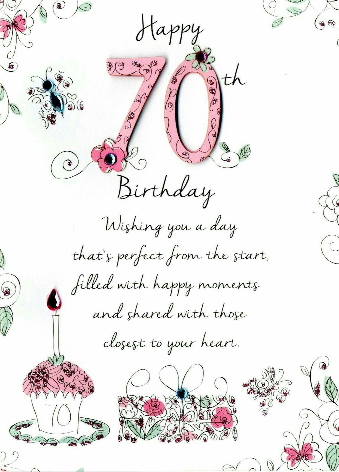 Birthday Love Art Special Wishes Verses 70th Card