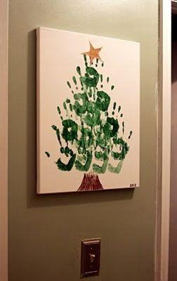Met handafdrukken werken blijft leuk. Ook voor kerst kun je leuke items maken van handafdrukken. Bijvoorbeeld dit mooie schilderij. De handafdrukken maken de kerstboom.