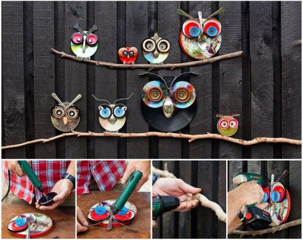 Wonderful diy recycled lid owls owl decorations diy recycle and owl solutioingenieria Gallery