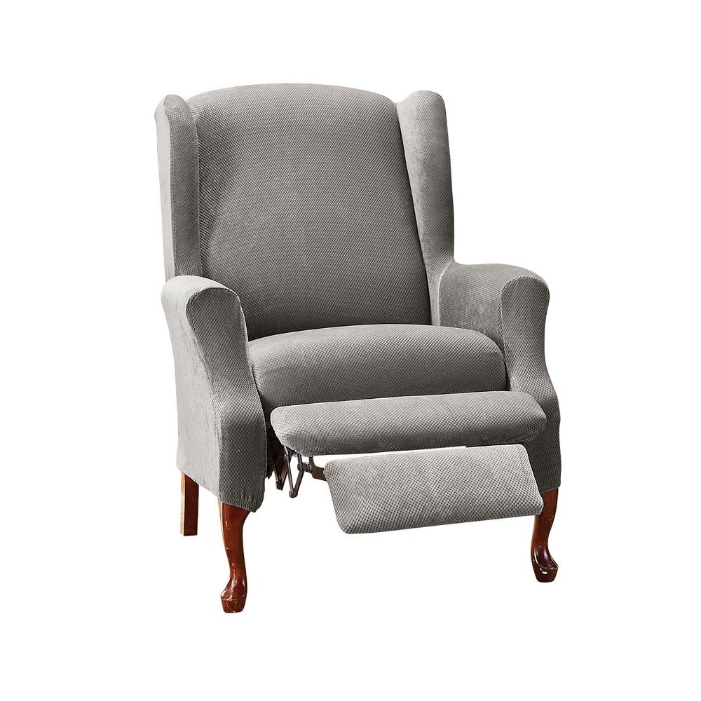 Stretch Pique Wing Recliner Flannel Gray Sure Fit